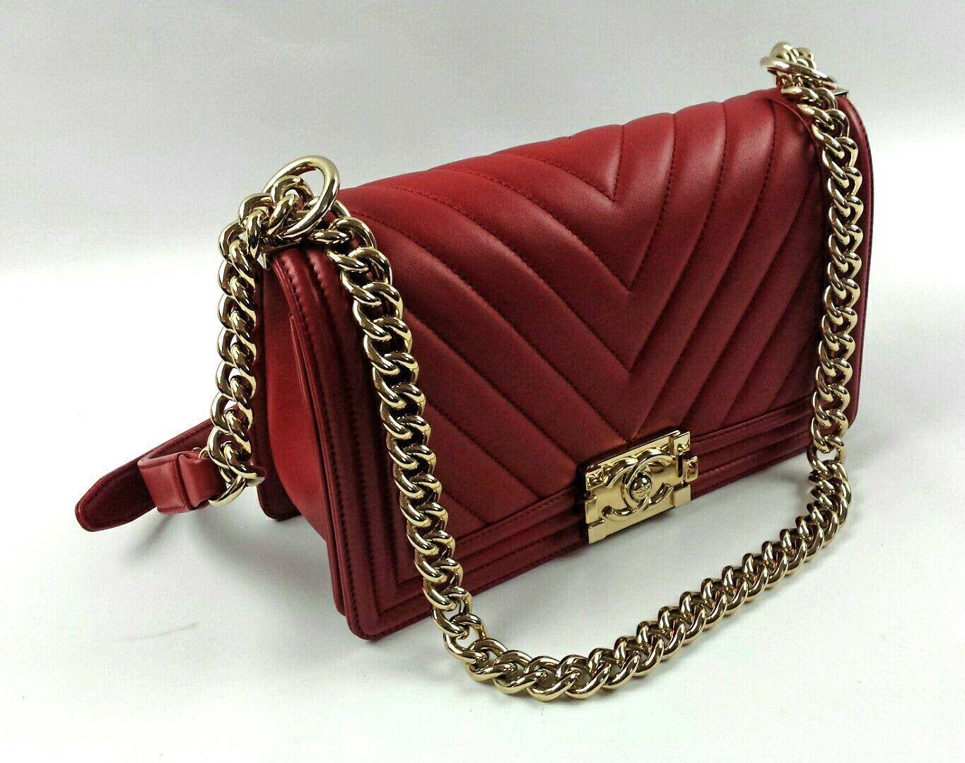 a1e0400d336 Chanel red chevron boy bag with light gold hardware