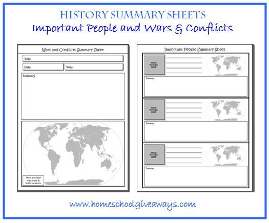 Free Instant Download History Summary Sheets Important People And Wars Conflicts Homeschool Giveaways Important People In History Homeschool Writing Homeschool 6th grade history worksheet