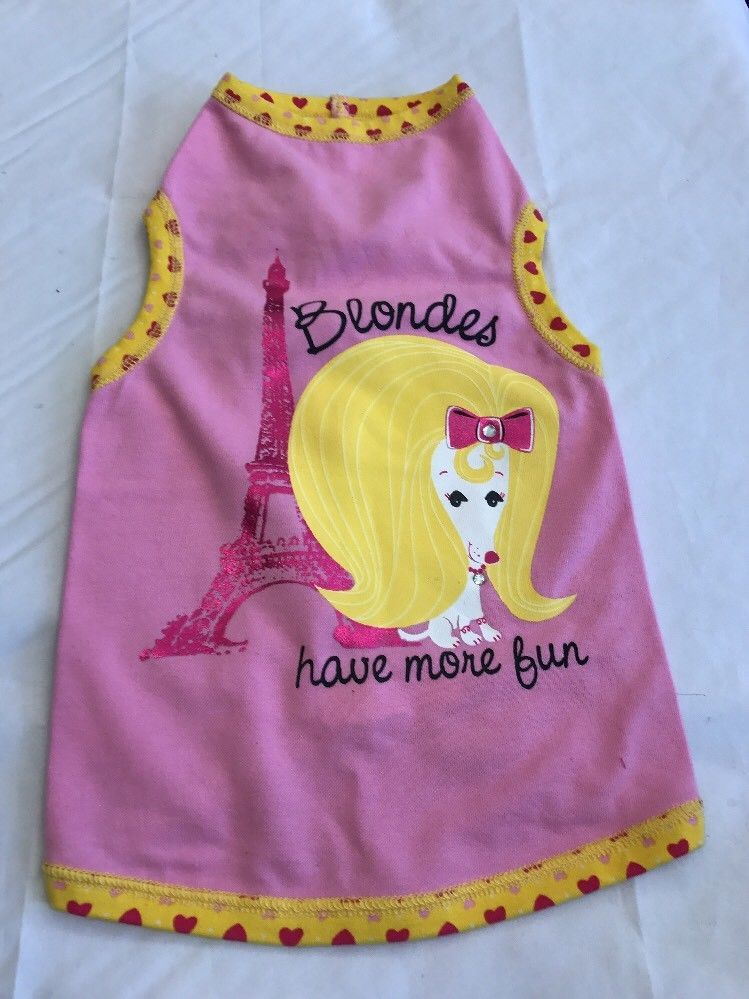 cb61a3e76 Pet Clothes Dog Tank Top Size Medium Blondes Have More Fun Eiffel Tower |  eBay