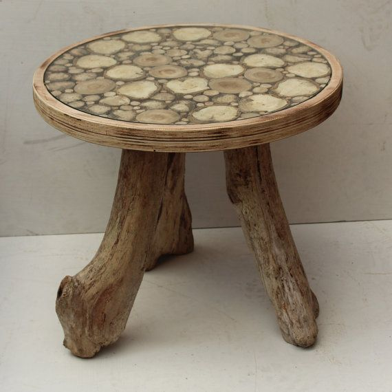 Round Driftwood Coffee End Table Glass Top by JuliasDriftwood
