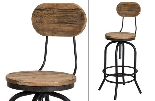 Distressed Natural Elm Wood Bar Stool With Back Bar Stools Bar Stools With Backs Industrial Stool
