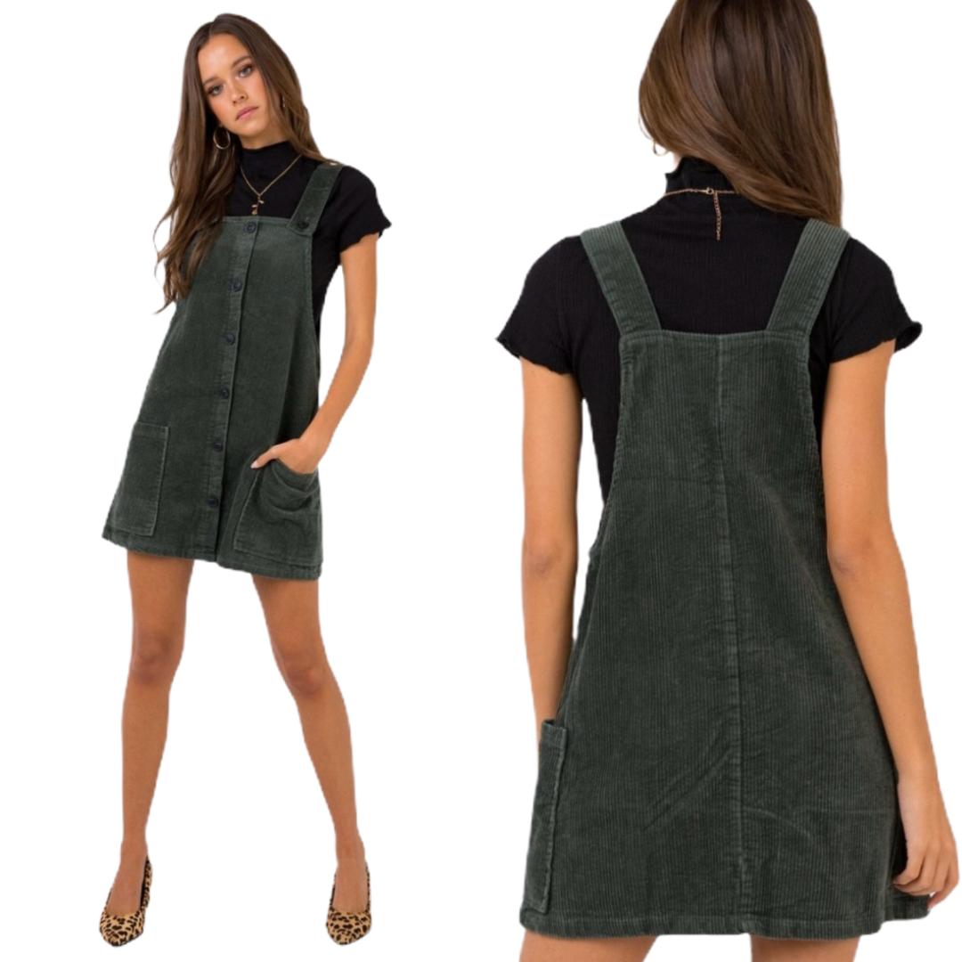 In Stock Princess Polly Hunter Pinafore Green Corduroy Overall Dress Corduroy Overall Dress Overall Dress Princess Polly [ 1080 x 1080 Pixel ]