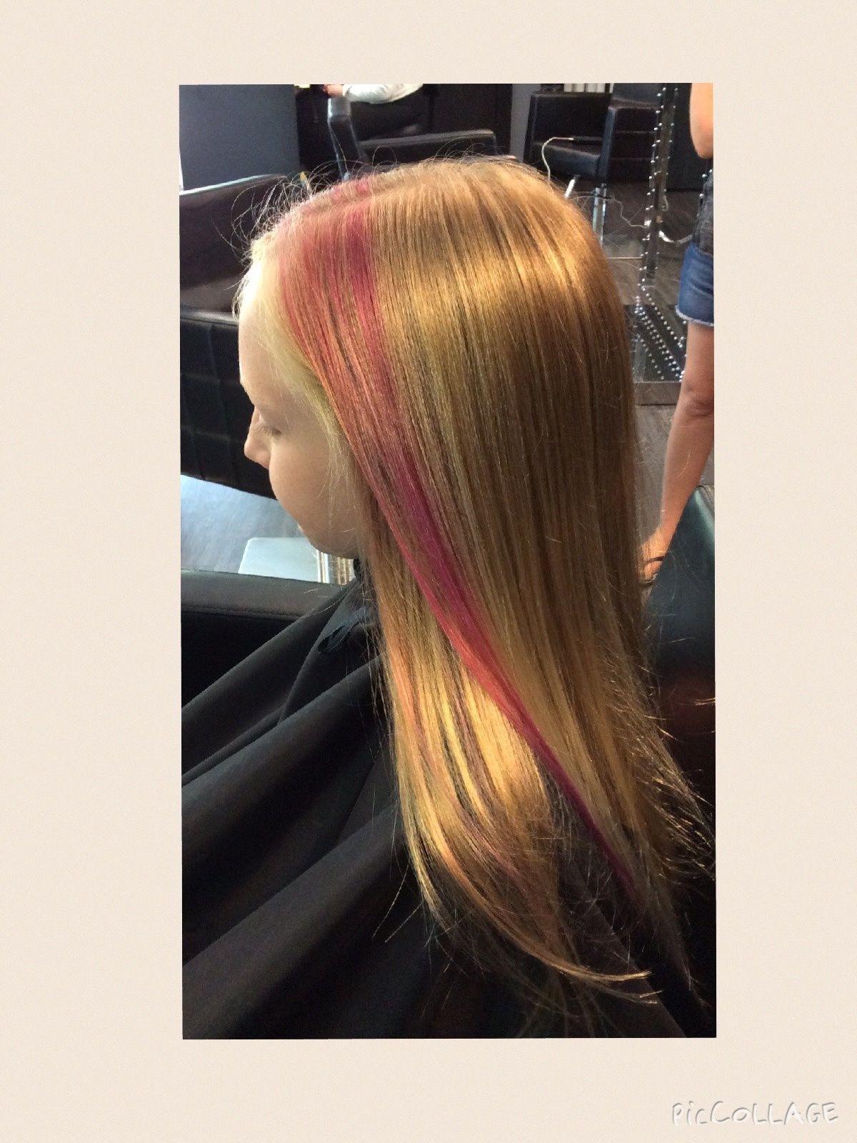Pink Streak On Little Girl Wellahair Headbangerssalon Wella Hair Pink Streaks Hair Styles