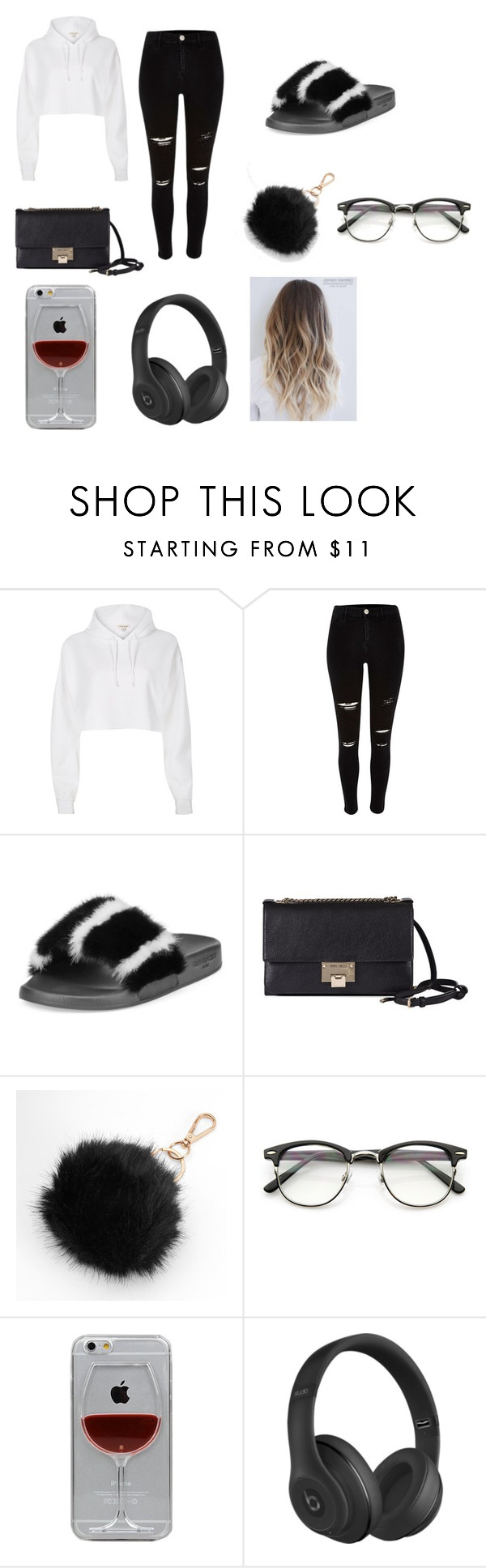 """""""when u doing ur thing"""" by mynameisyaya ❤ liked on Polyvore featuring River Island, Givenchy, Jimmy Choo, Mudd, Reyes and Beats by Dr. Dre"""