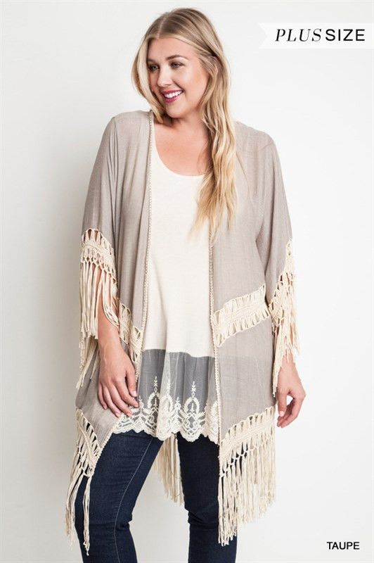 Umgee Plus Taupe Kimono Duster - Soft cotton gauze with crochet paneling and tassel fringe.  Add some boho country style to your wardrobe this season.  Pair with denim and boots or wear over a sleeveless dress. Wear as a swimwear cover-up too.  Material: 60% cotton 40% polyester  We measure these in house so you get the right fit.