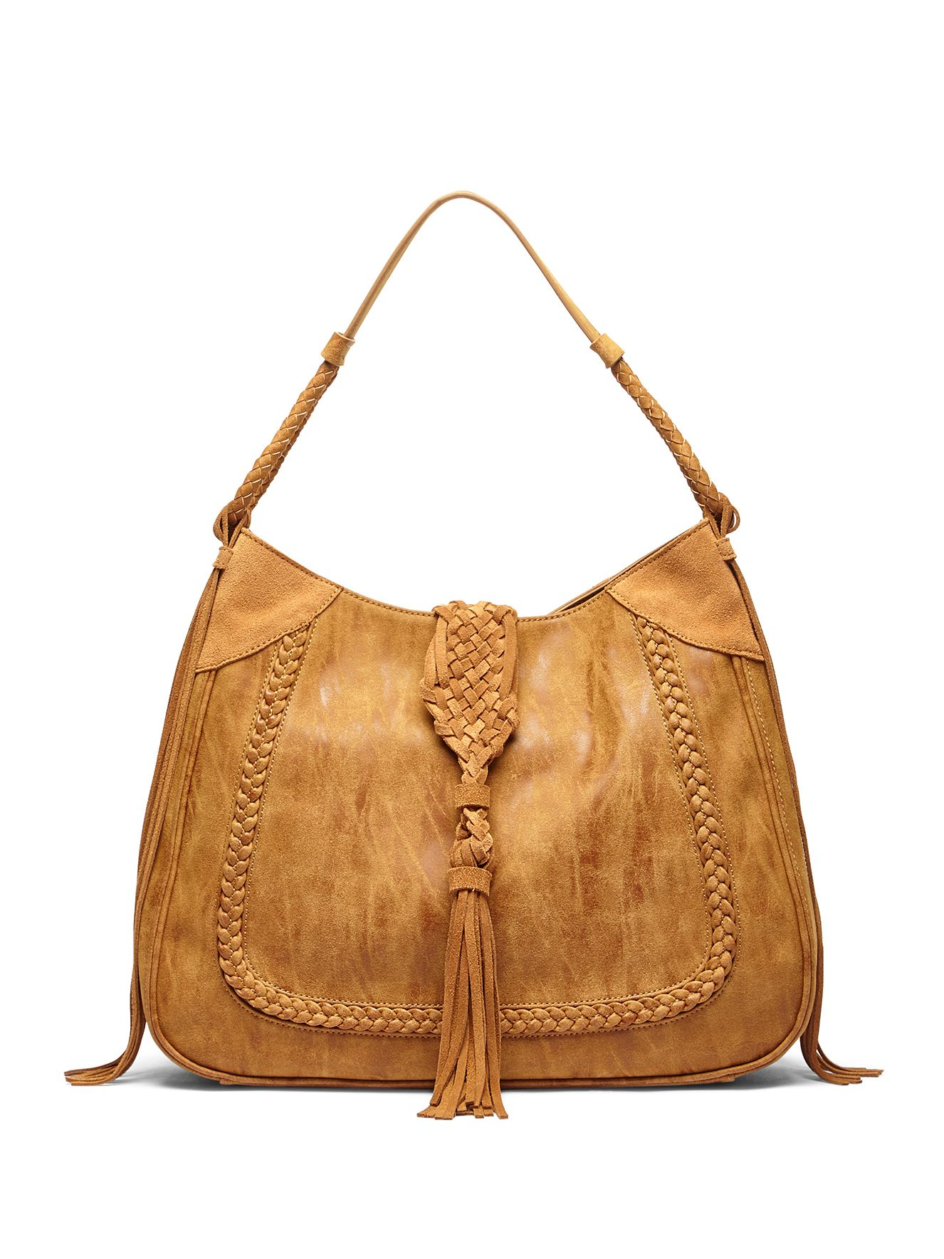 Braided shoulder bag with suede tassels in camel | Sole Society Vail