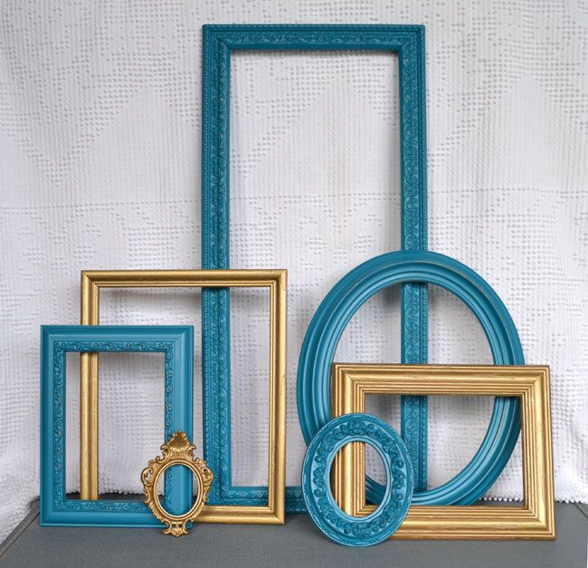Teal And Gold Ornate Painted Frames Set Of Upcycled Frame Set For Bedroom  Modern Traditional Gallery Wall