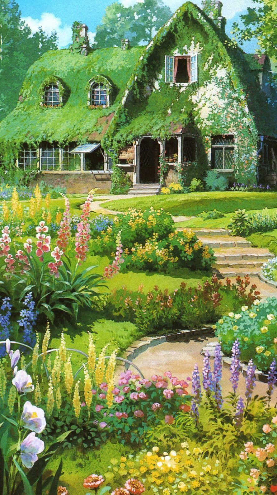 Maison Couverte De Plantes Et Jardin Fleuri Animesc Anime