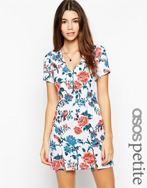 ASOS PETITE Exclusive Tea Dress in Floral Print with Split detail