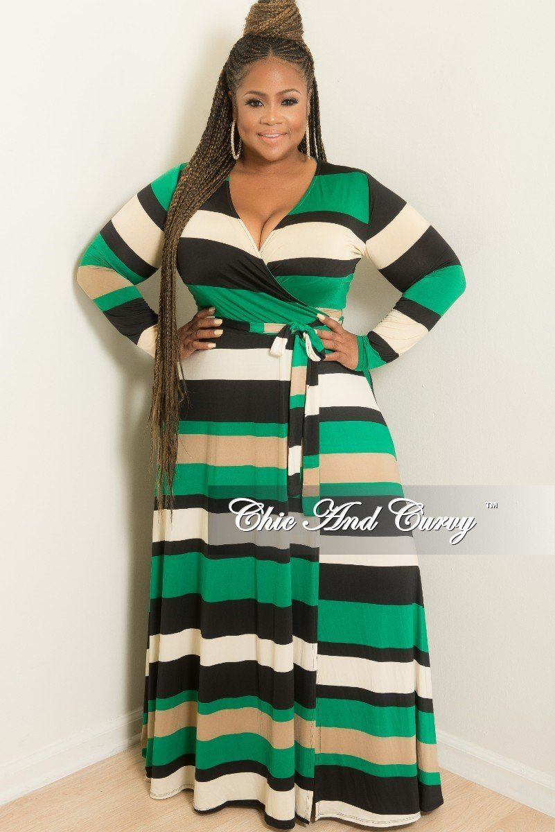984810fbcc8 Plus Size Long Wrap Dress with Attached Tie in Black Green and Ivory – Chic  And Curvy