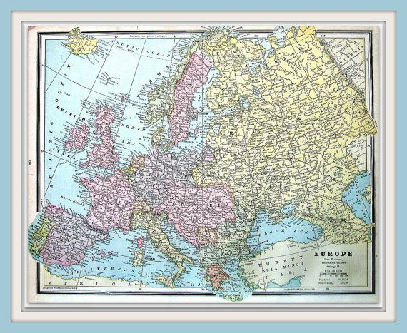 Map of europe continent map 1883 antique map crams world map of europe continent map 1883 antique map crams world atlas book gumiabroncs Gallery