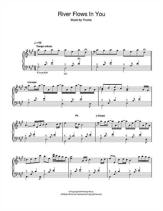 Yiruma: River Flows In You sheet music | Digital Sheet Music ...