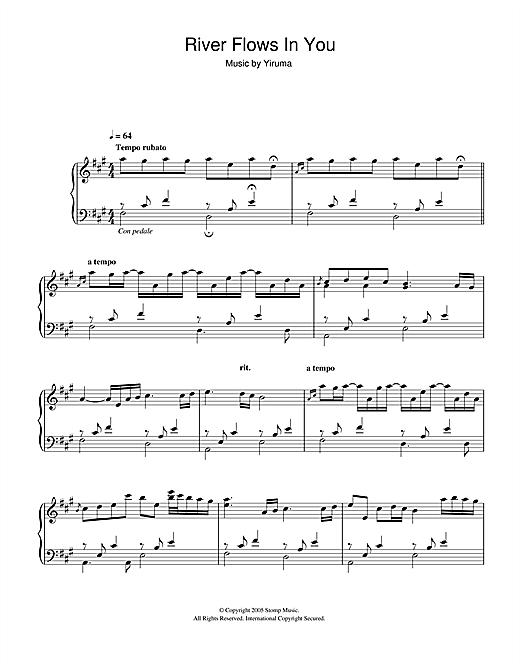 Yiruma River Flows In You Sheet Music Yiruma Lee Ru Ma