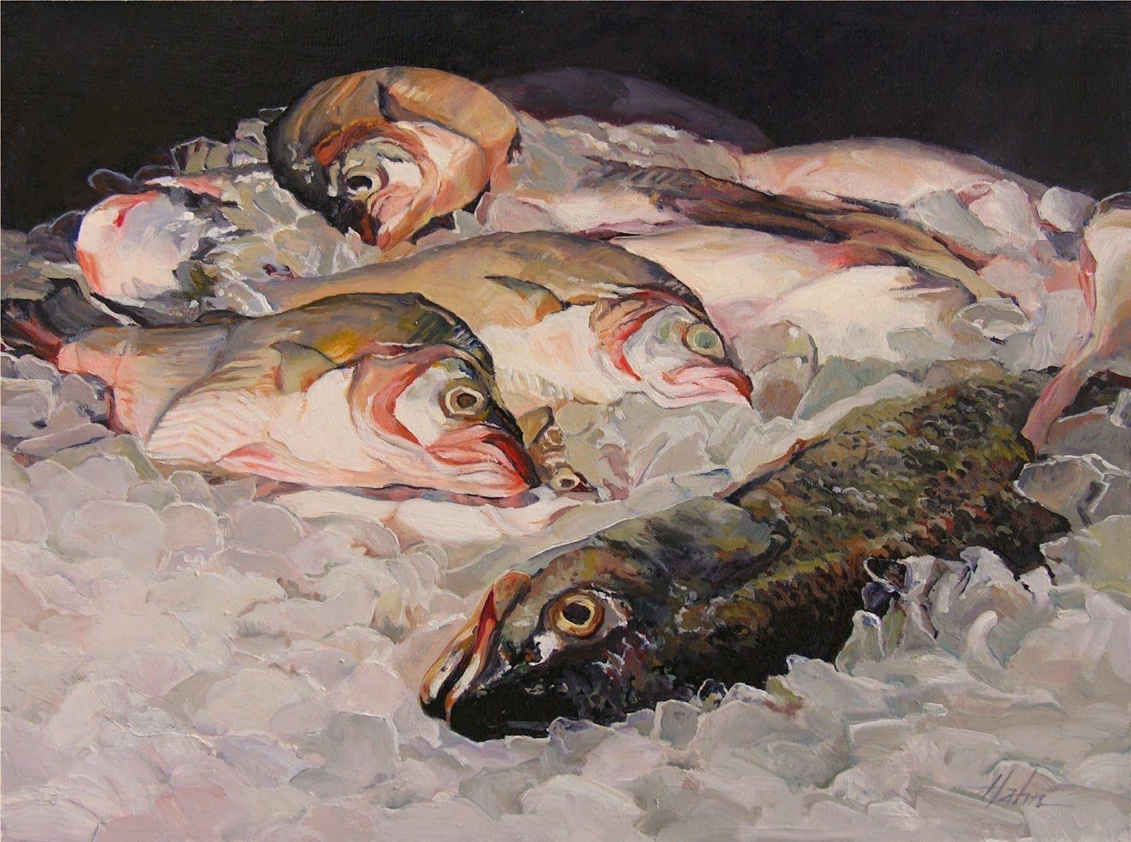 Felix murillo lleno de colores painting acrylic artwork fish art - Fish On Ice By Elaine Hahn Original Watercolors