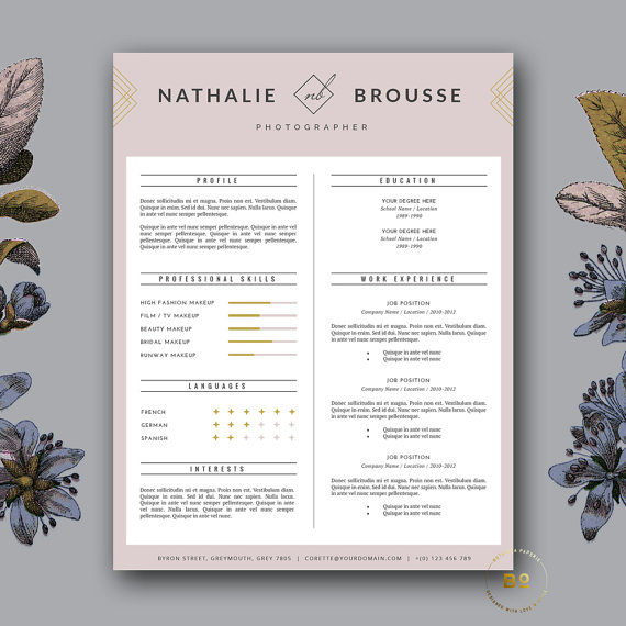 Fashion Resume Template Stylish Cv Template Feminine Elegant Cv Design Cover Letter For Word Beauty Resume Makeup Artist Nathalie In 2021 Resume Template Cv Template How To Memorize Things