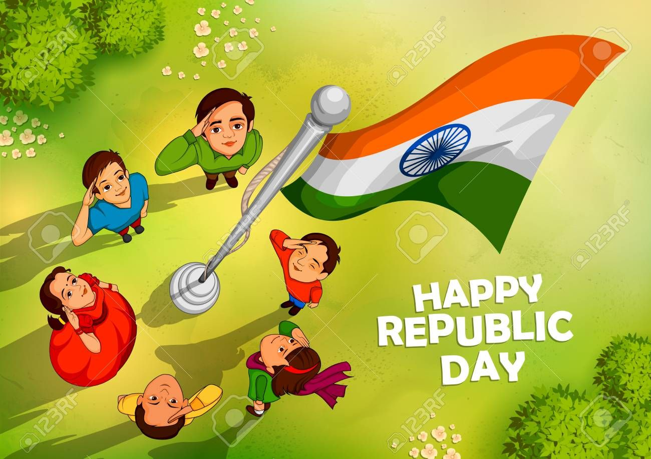 Indian People Saluting Flag Of India With Pride On Happy Republic Royalty Free Cliparts Vector Republic Day Indian Happy Independence Day India Republic Day