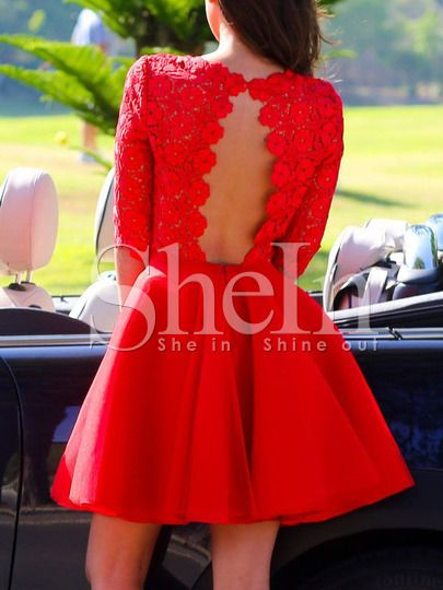 d9922d1640b robe avec dentelle manches mi-longue -rouge -French SheIn(Sheinside)Site  Mobile