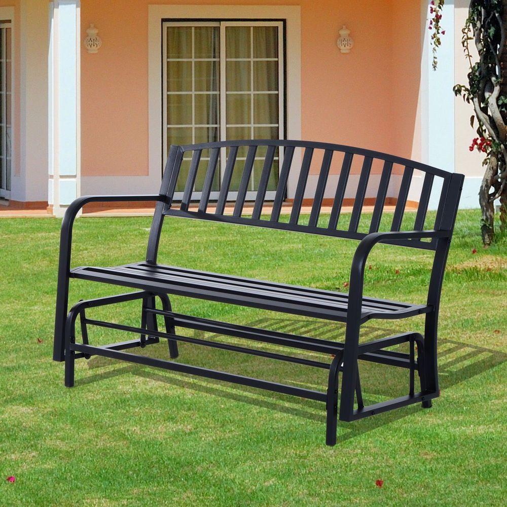 2 Seater Outdoor Swing Glider Bench Steel Frame Black 400 x 300