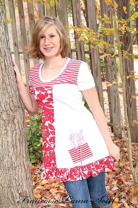 Women asymmetrical tunic short sleeve white by francoiselamasolet