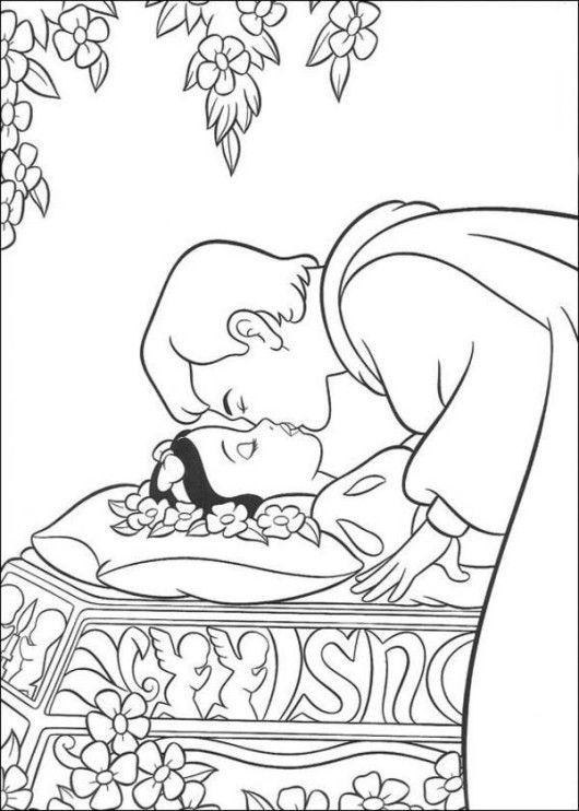 Prince Kissed The Princess Snow White Disney Coloring Page Snow