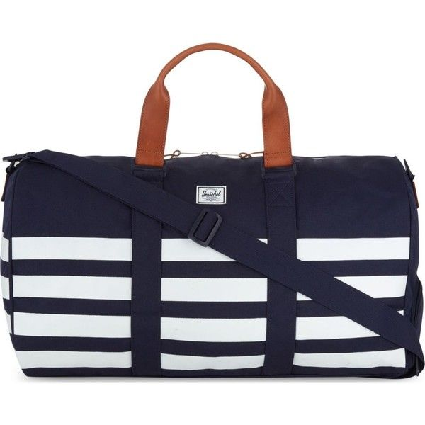 HERSCHEL SUPPLY CO Novel duffle (£110) ❤ liked on Polyvore featuring men's fashion, men's bags, peacoat offset, mens leather bag, mens duffel bags, mens leather duffel bag, mens duffle bags and mens leather duffle bag