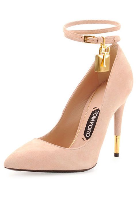 20 fashionable heels that will give any outfit a style boost.  Tom Ford Suede Ankle-Lock Pump, $1,250; bergdorfgoodman.com