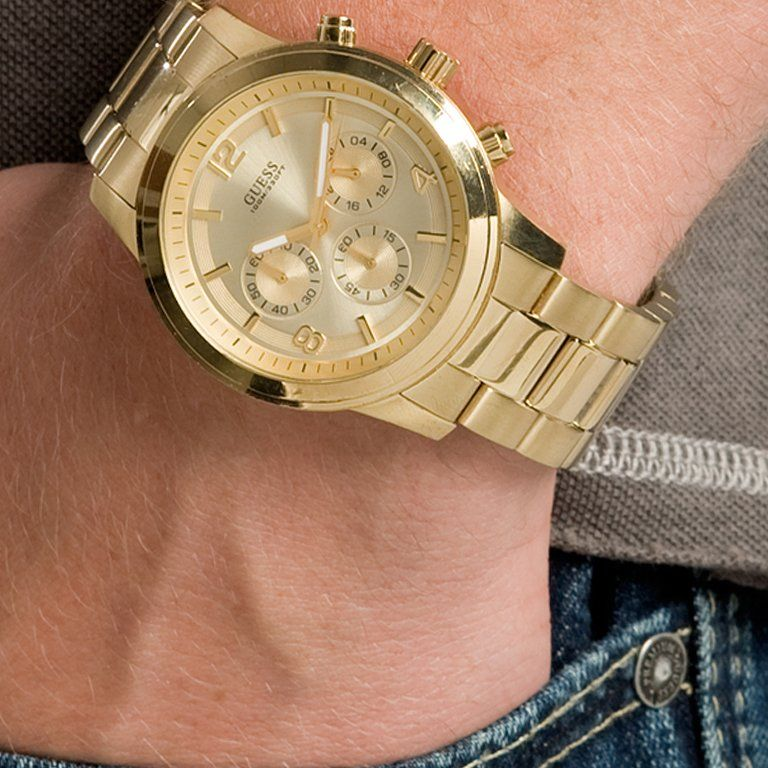 guess men s u0170g2 gold tone sportwise chronograph watch guess gold tone bold contemporary waterpro chronograph watch