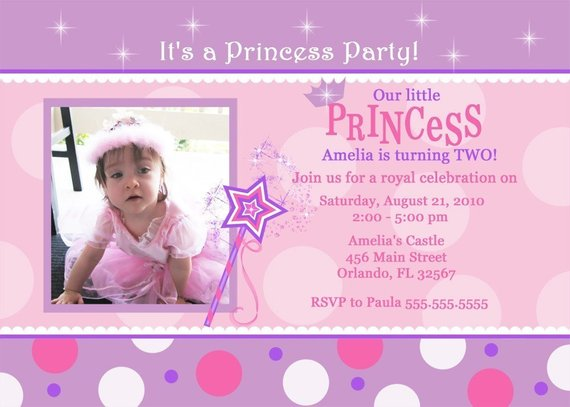 Pink And Purple With Dots Princess Birthday Party Invitation Digital File
