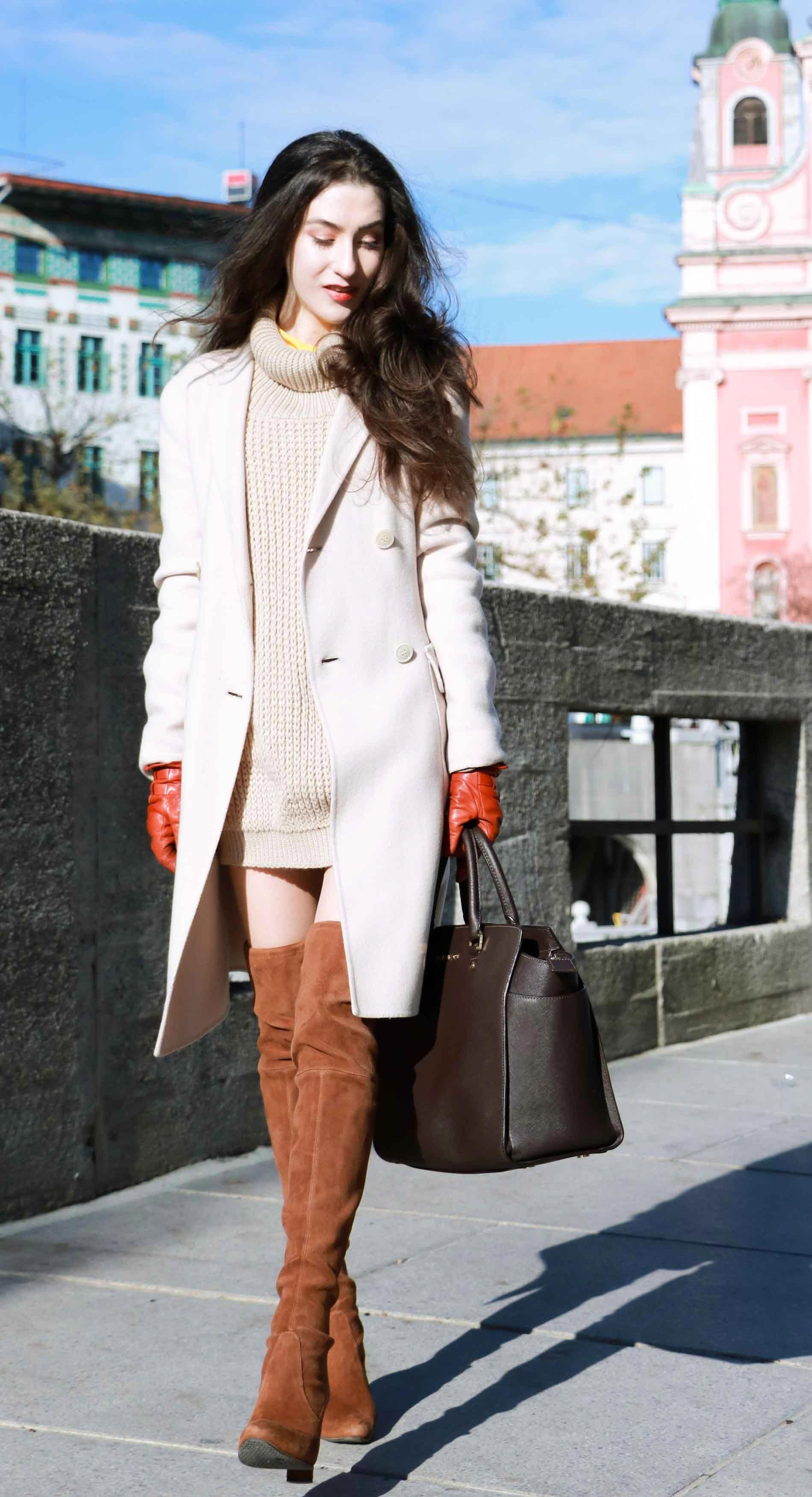 8f6d9821f5c Fashion Blogger Veronika Lipar of Brunette from Wall dressed in double  breasted coat