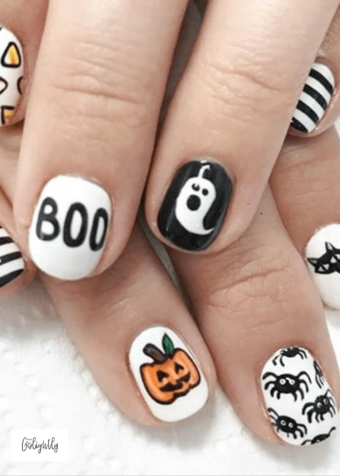 Halloween Nail Designs with Boom, Pumpkin Jackolantern ...