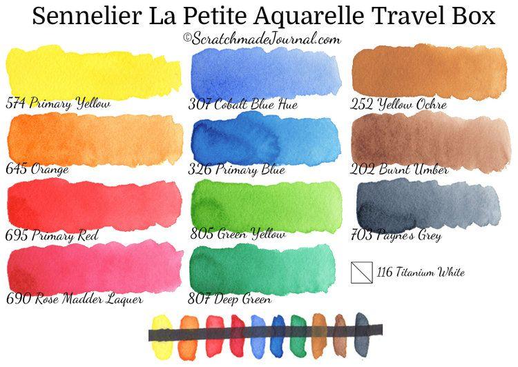 Sennelier La Petite Aquarelle Watercolour Travel Sets Half Pans Or