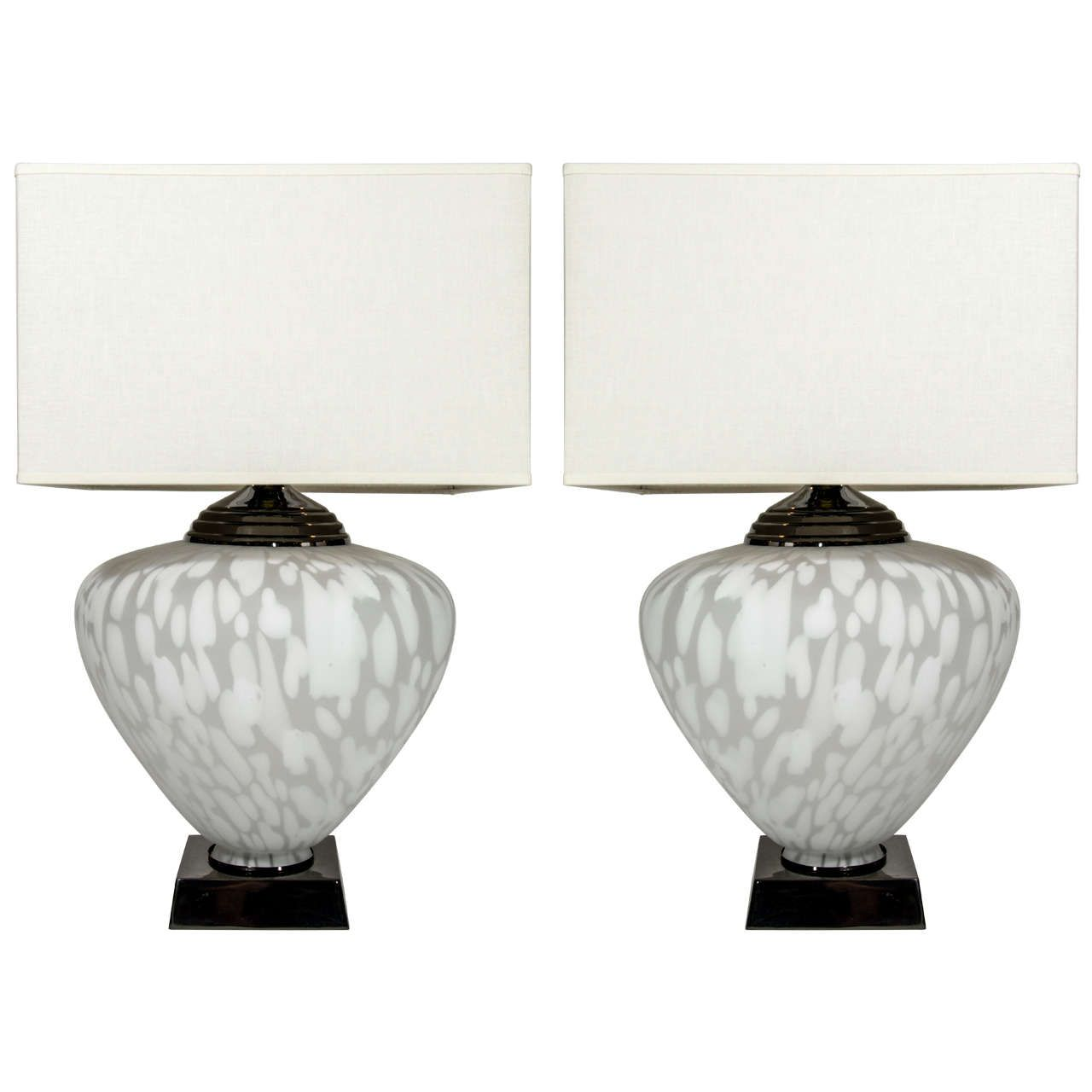 Pair of ultra modern large murano glass lamps with illuminated urns pair of ultra modern large murano glass lamps with illuminated urns aloadofball Gallery