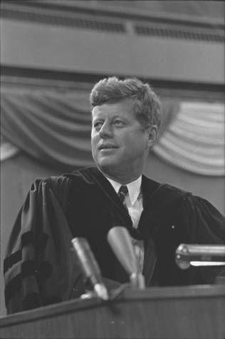President John F. Kennedy speaking at U.N.D., Grand Forks, N.D. :: Cal Olson Photography (NDSU)