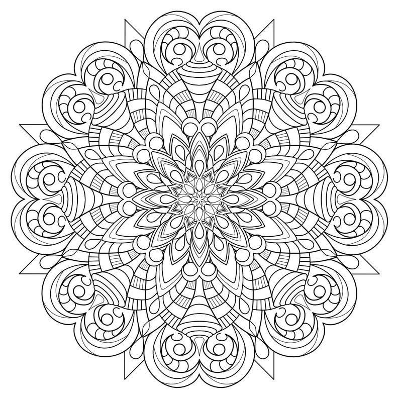 Mandala Madness Coloring Book 5 Printable Pdf Coloring Pages Etsy In 2020 Mandala Coloring Mandala Coloring Pages Coloring Books