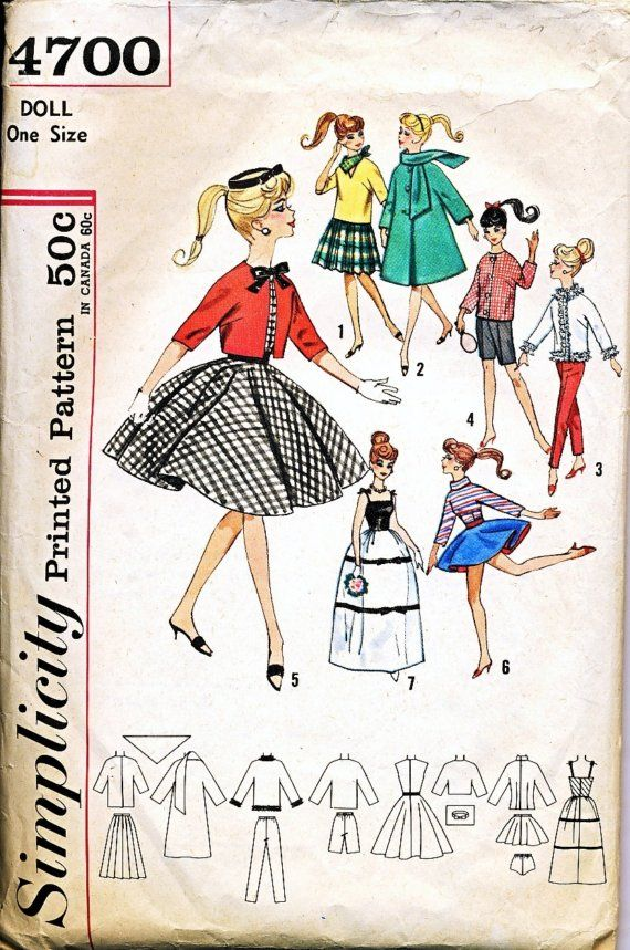 Simplicity 4510 Barbie Fashion TEEN DOLL Fabric Sewing Pattern Vintage BRIDAL