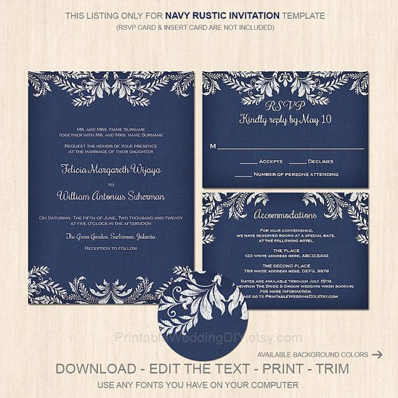 Rustic vintage Invitation Templates DIY Instant download Word - invite templates for word