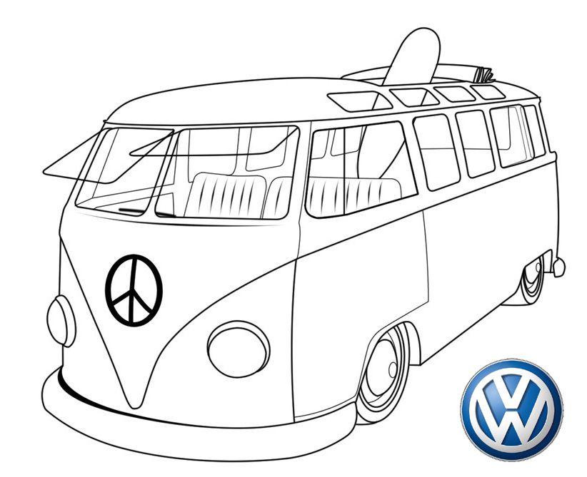 New Volkswagen Bus Coloring Page Volkswagen Bus Vw Bus Vw Bus Printable