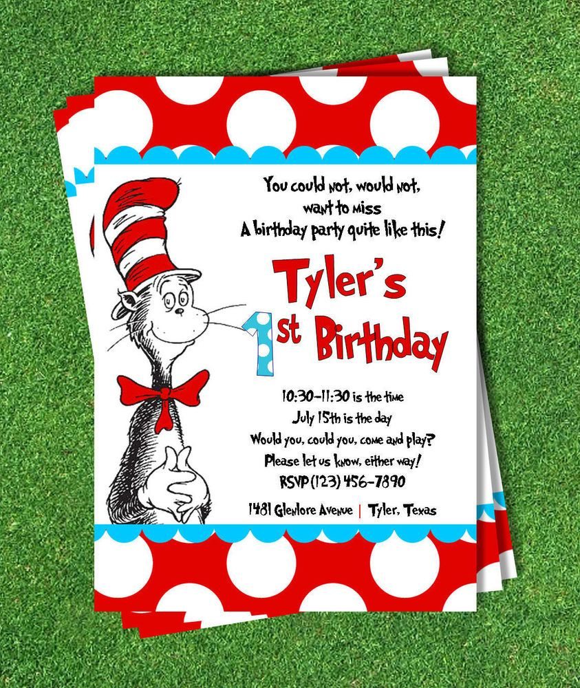 Cat in the Hat Invitation (printed) 5x7 Customized Birthday Party Dr Seuss