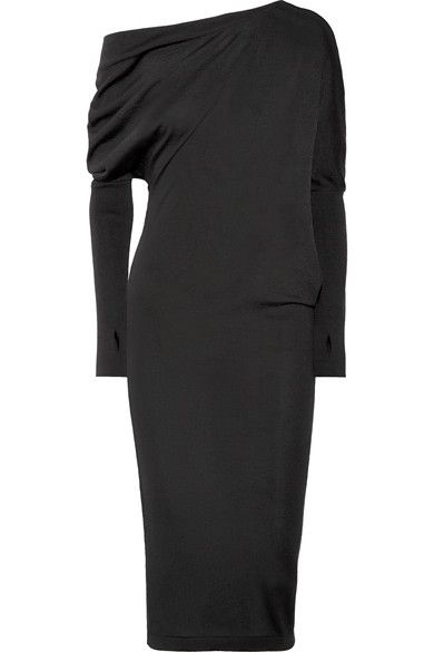 One-shoulder Cashmere And Silk-blend Midi Dress - Charcoal Tom Ford