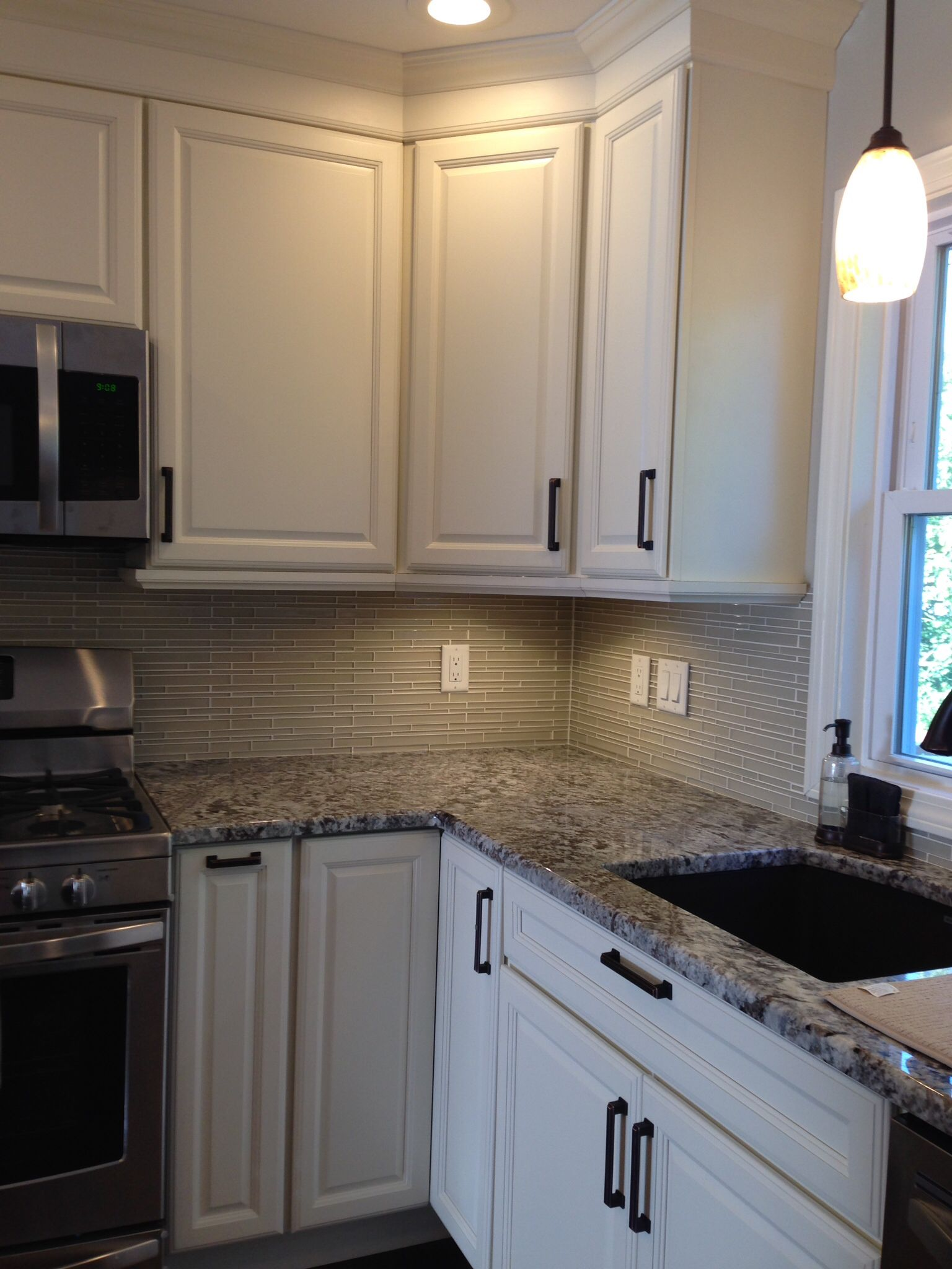 backsplash glass tileakdo in parchment staggered | my