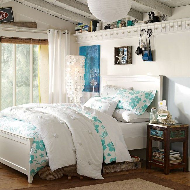 jugendzimmer einrichten m dchen maritim flair wei hellblau muscheln jj. Black Bedroom Furniture Sets. Home Design Ideas