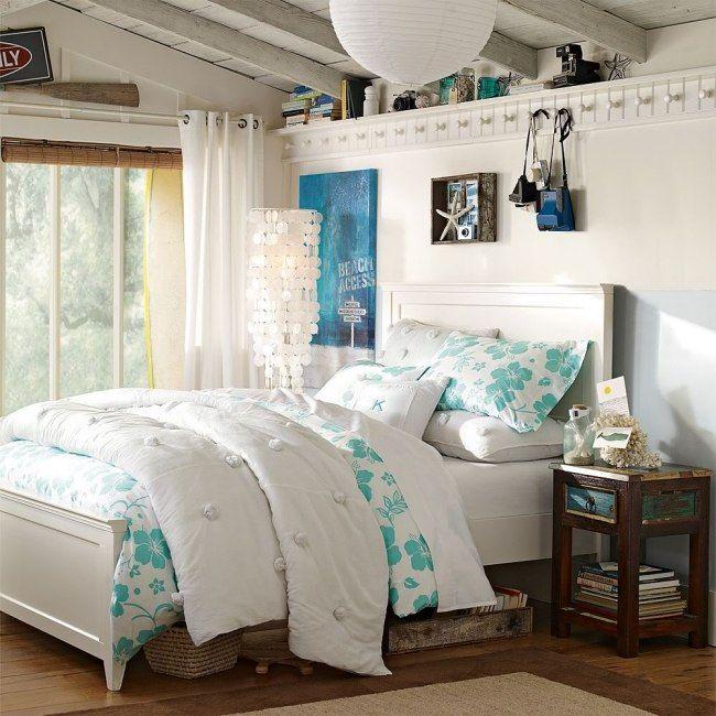 jugendzimmer einrichten mädchen maritim flair weiß hellblau - schlafzimmer gestalten farben