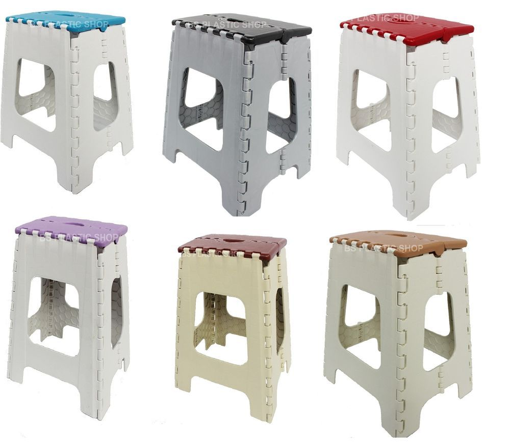 Plastic Folding Step Stool Foldable Ladders Easy Carry Camping ...