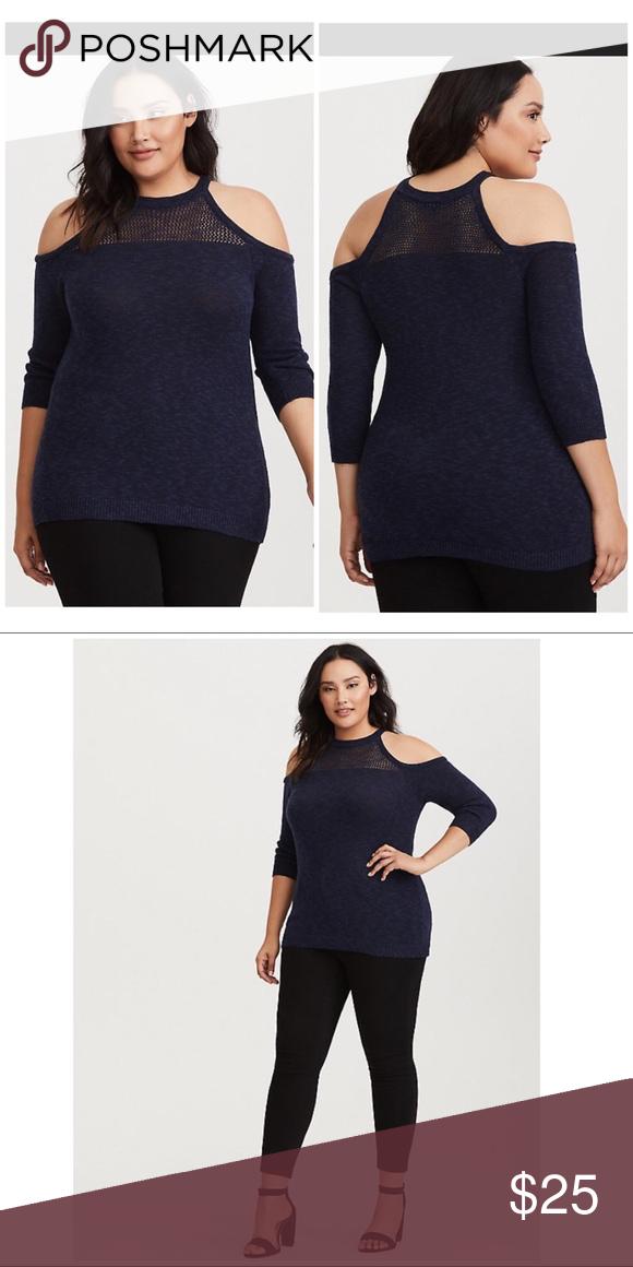 07474e1b44444 Torrid Mesh Cold Shoulder Sweater Sz 1 Torrid Navy Mesh Cold Shoulder  Sweater. Size 1
