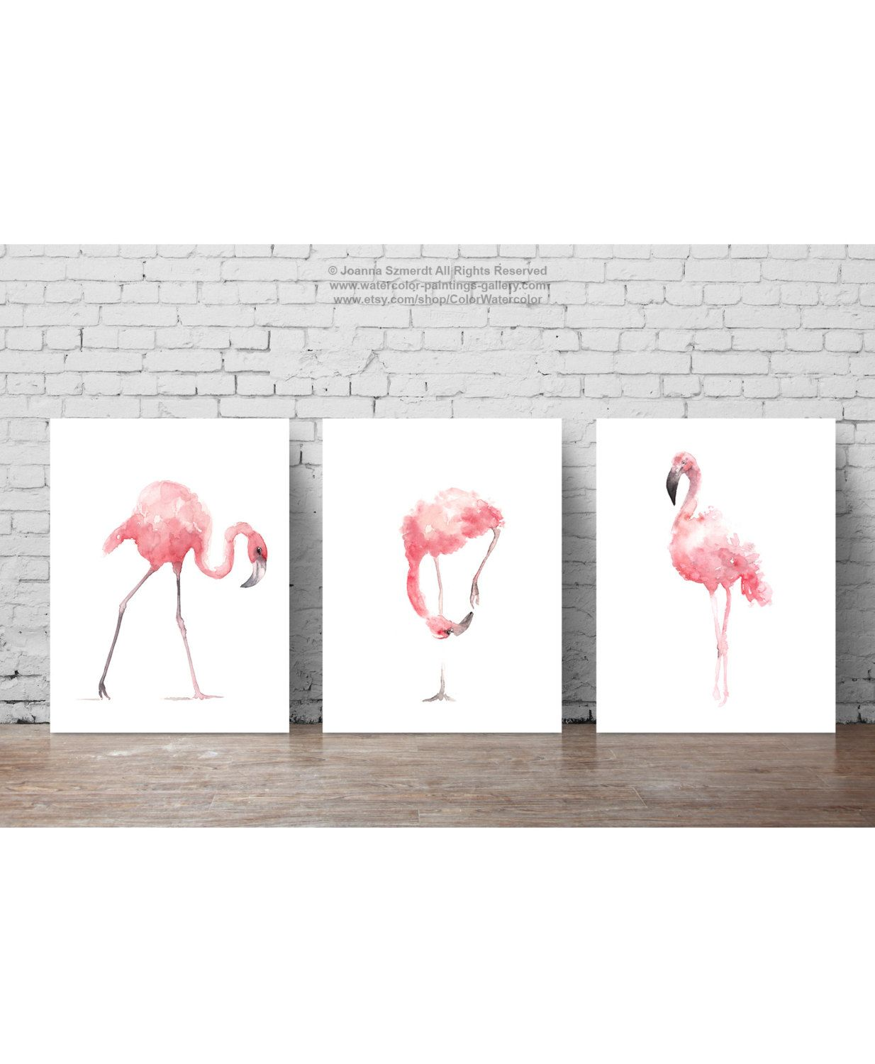 Pink Flamingo Set 3 Art Prints Flamingoes Whimsical Tropical Etsy Flamingo Wall Art Tropical Artwork Art Prints