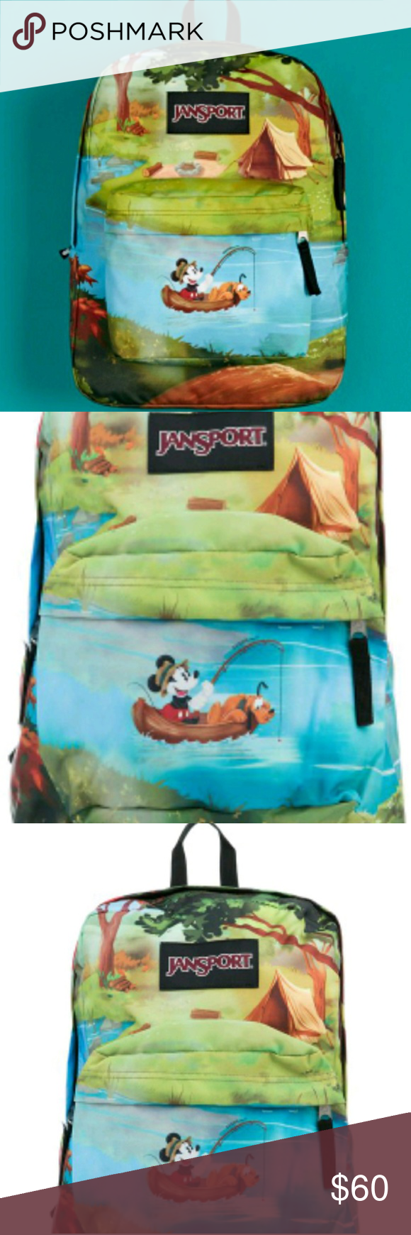 9a5c368e5bf 🆕Disney jansport backpack Brand new with tag and just in time for back to  school. Disney jansport backpack. Featuring Mickey and Pluto fishing on a  lake ...