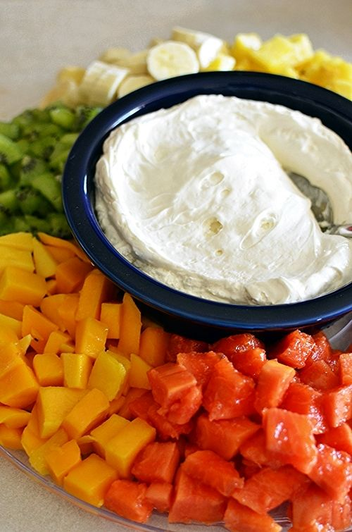 "Coconut Cream Fruit Dip: ""Sweet and smooth, the cream cheese is fluffed up with whipped topping and a generous helping of cream of coconut."" - My Baking Heart"