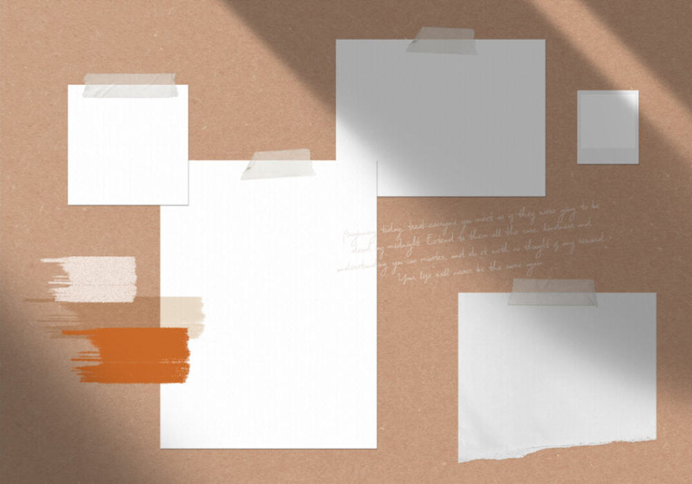 Paper Moodboard with Shadows Mockup Mockup World Mood
