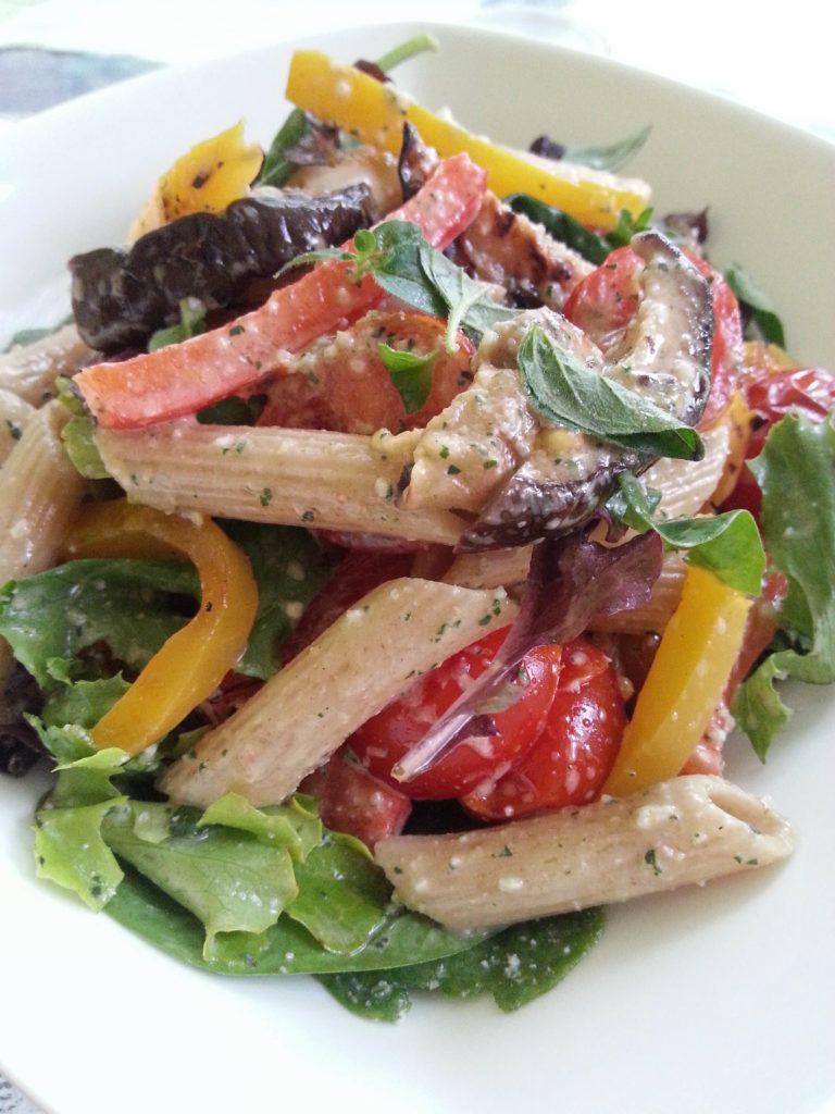 Grilled Veggie Pasta Salad With Almond Oregano Pesto