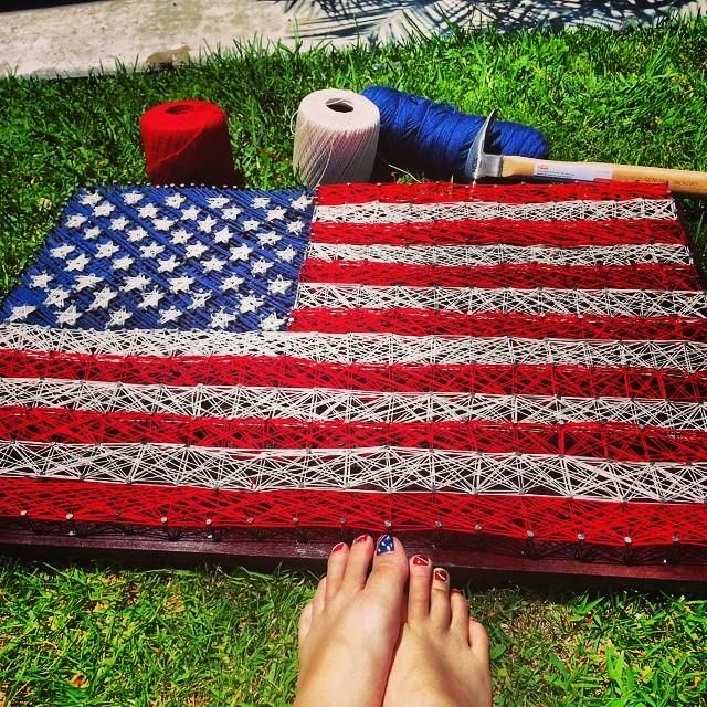 Texas string art wooden stained boarded with red white and blue american flag string art that i made to get in the fourth of july spirit prinsesfo Image collections